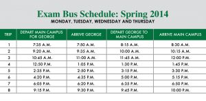 For the full schedule visit: https://www.uscupstate.edu/uploadedFiles/academics/Business/Spring%20Exam%20Bus%20Schedule%202014.pdf