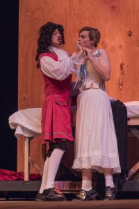"""Brandon Mimnaugh as George Villiers the Duke of Buckingham and Howie Jordan as Edward Kynaston share an intimate moment in """"Compleat Female Stage Beauty."""" Photo by Les Duggins Sr./USC Upstate Photographer"""