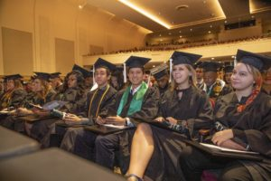 A group of students at USC Upstate December Graduation 2018 at Spartanburg Memorial Auditorium.